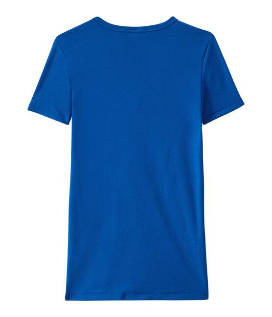 Dames-T-shirt met V-hals in origineel geribd katoen blauw Perse