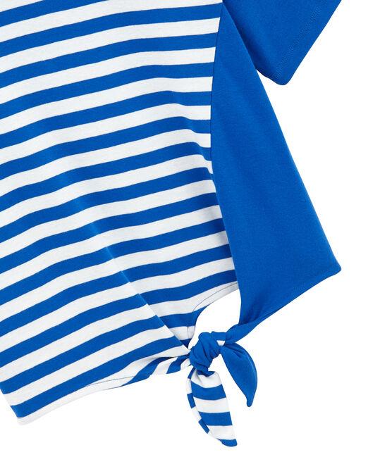 Tee-shirt plage femme bleu Perse / blanc Marshmallow