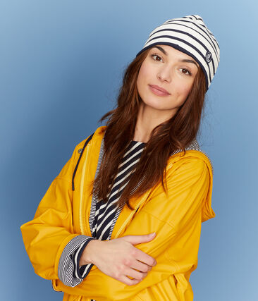 Bonnet marin mixte beige Coquille / bleu Smoking