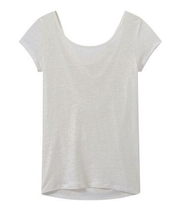 T-shirt femme col bénitier au dos en lin irisé