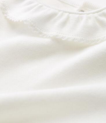 Body met korte mouwen en biesje voor babymeisjes wit Marshmallow