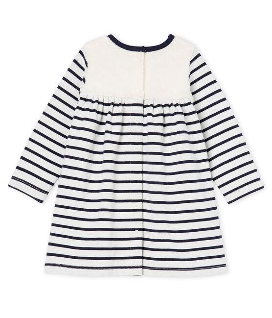 Gestreepte jurk met lange mouwen babymeisje wit Marshmallow / blauw Smoking Cn