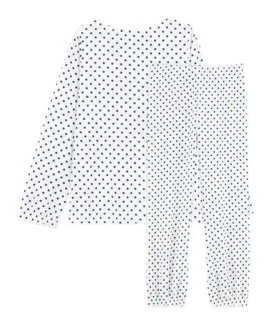 Meisjespyjama van gebreide stof wit Marshmallow / blauw Contes