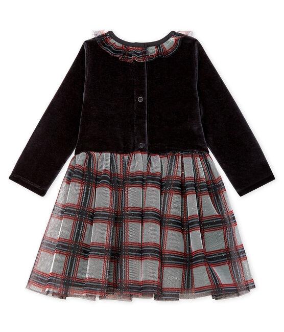 Jurk met lange mouwen twee soorten materiaal babymeisje zwart Noir / wit Multico