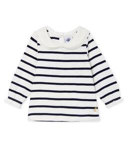 Blouse manches longues bébé fille rayure marinière blanc Marshmallow / bleu Smoking