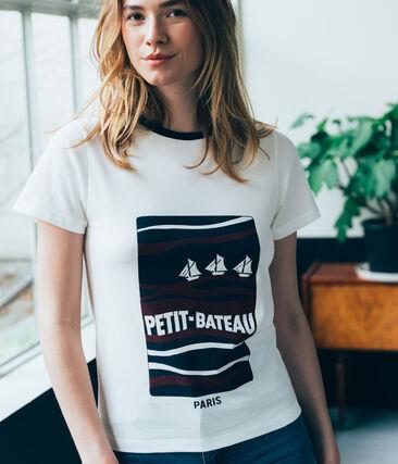 marinegestreept dames Tee-shirt wit Marshmallow / wit Multico