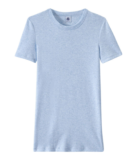 Dames-T-shirt in origineel geribd katoen blauw Cumulus Chine