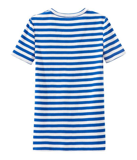 Gestreept dames-T-shirt in origineel geribd katoen blauw Perse / wit Marshmallow