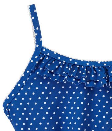 Meisjesbadpak met stippen blauw Perse / wit Marshmallow