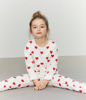 Meisjes-Jongenspyjama van molton wit Marshmallow / rood Terkuit