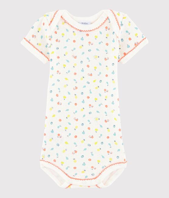 Rompertje met korte mouwen babymeisje wit Lait / wit Multico