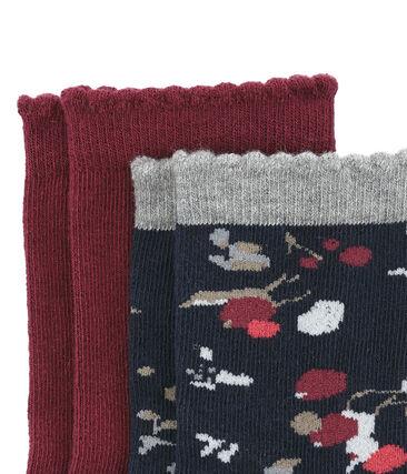 Set van 2 paar sokken: effen en bloemen set .
