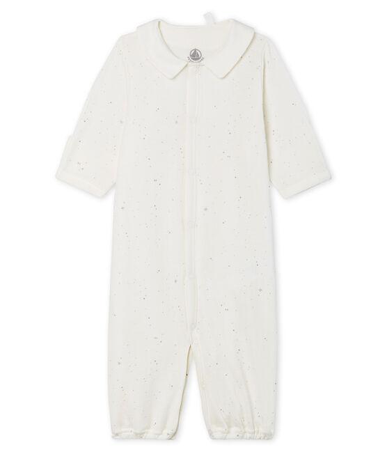 Combisac bébé en tubique blanc Marshmallow / blanc Multico