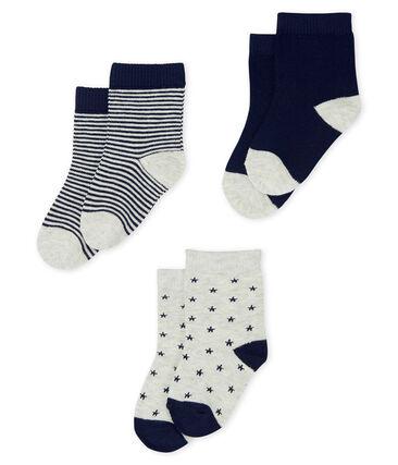 Set van 3 paar sokken van katoenen jersey voor baby jongen grijs Beluga / blauw Smoking