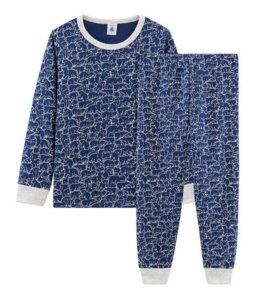Jongenspyjama van molton blauw Major / wit Marshmallow