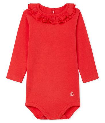 Body lange mouwen met kraagje babymeisje rood Signal