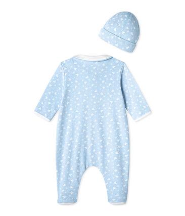 Slaappakje en geboortemutsje blauw Toudou / wit Ecume