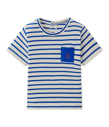 Gestreept T-shirt met korte mouwen voor babyjongens wit Feta / blauw Perse