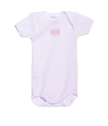 Body bébé fille manches courtes à milleraies rose Vienne / blanc Ecume