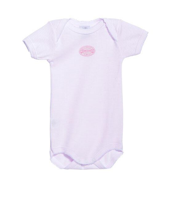 Babybody met korte mouwen en milleraies-strepen voor meisjes roze Vienne / wit Ecume