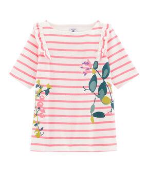 T-shirt meisjes wit Marshmallow / roze Cupcake