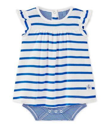 Gestreept bodyjurkje voor babymeisjes wit Marshmallow / blauw Perse