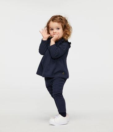 Blouse manches longues bébé fille imprimée bleu Smoking / blanc Marshmallow