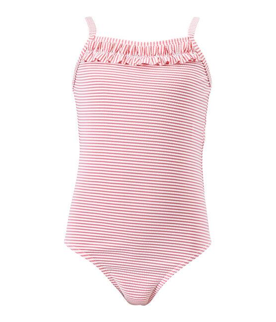 Gestreept meisjesbadpak roze Petal / wit Marshmallow