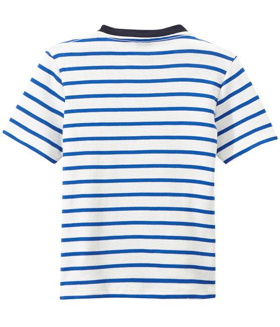 Gestreept jongens-T-shirt met opdruk wit Marshmallow / blauw Perse