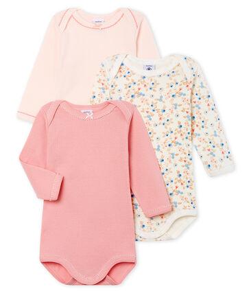 Drie rompertjes met lange mouwen voor babymeisjes