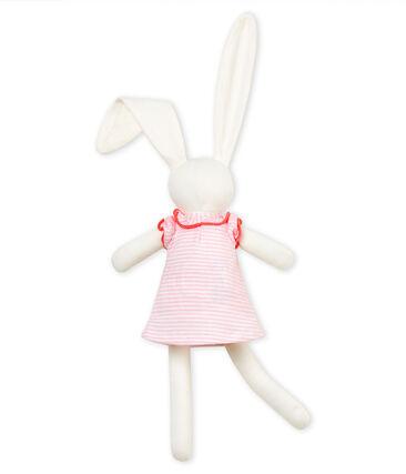 Doudou lapin habillé rose Vienne / blanc Marshmallow