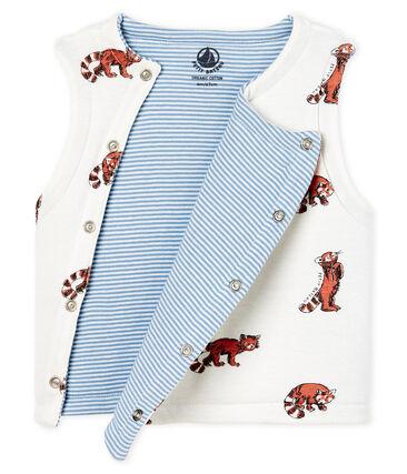 Mouwloos omkeerbaar vest van gewatteerde ribstof babyjongen wit Marshmallow / wit Multico