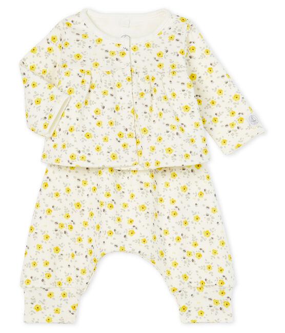 Set van drie kledingstukken babymeisje van wol en katoen wit Marshmallow / wit Multico