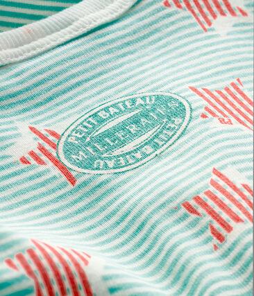 Slaappakje van ribstof babyjongen wit Marshmallow / wit Multico