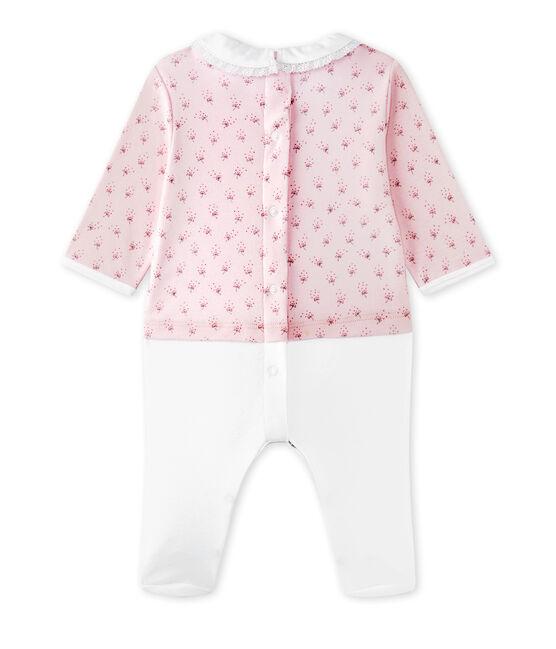 Hemdoverall uit twee stoffen voor babymeisjes roze Vienne / wit Multico