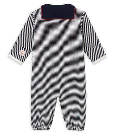 Combisac bébé garçon en côte 1x1 milleraies bleu Smoking / blanc Marshmallow