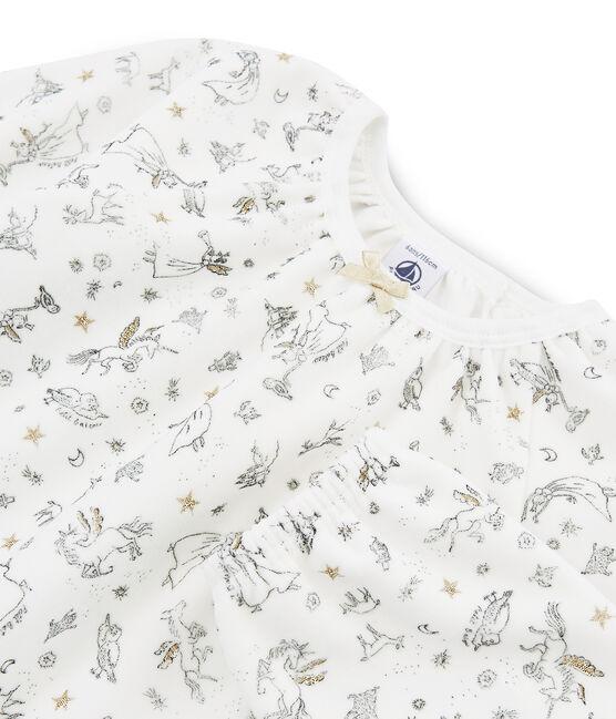 Meisjespyjama van fluweel wit Marshmallow / wit Multico