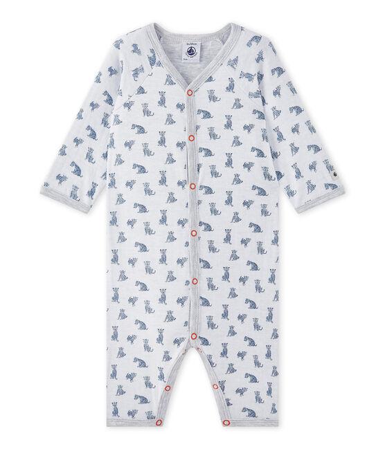 Pyjama zonder voetjes in tubic voor babyjongens wit Ecume / wit Multico