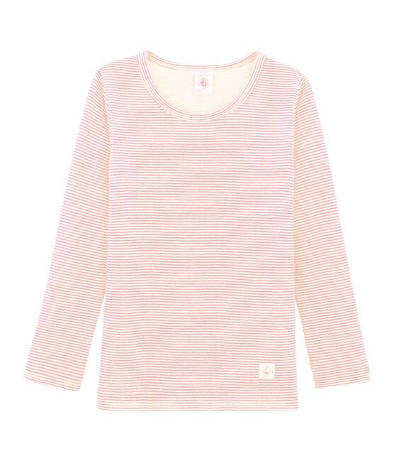 Tee-shirt manches longues enfant en laine et coton rose Charme / blanc Marshmallow