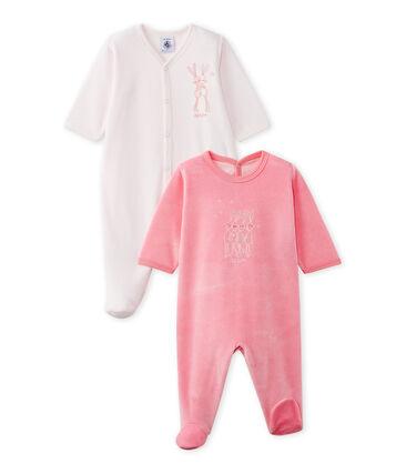 Set van twee fluwelen pyjama's voor baby