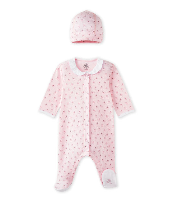 Slaappakje en geboortemutsje voor babymeisjes roze Vienne / wit Multico