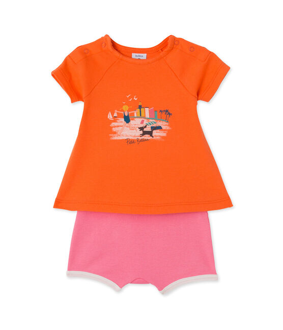 Ensemble bébé fille short et t-shirt orange Brazilian / rose Petal