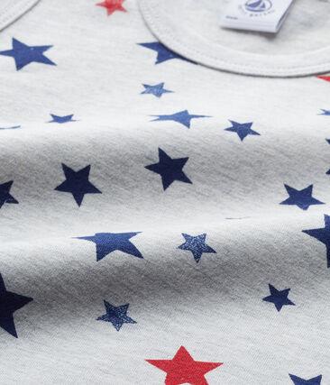 Jongenshemdje in stretchjersey met een dessin grijs Beluga / wit Multico