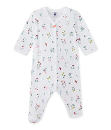 Pyjama met dessin voor babymeisjes wit Ecume / wit Multico