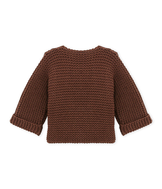 Cardigan bébé mixte laine et coton marron Brown
