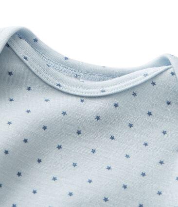 Combinaison courte bébé garçon en laine et coton bleu Fraicheur / gris Tempete