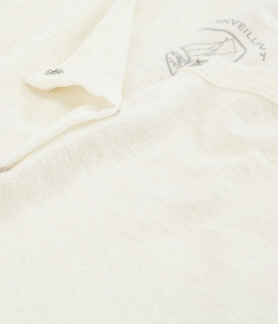 Vest met ronde hals in linnen. wit Marshmallow