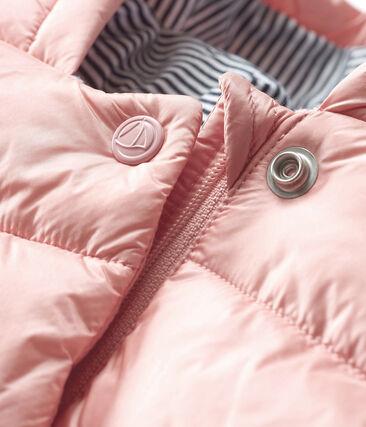 Donsjack van gesatineerde polyamide babymeisje roze Fleur