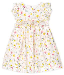 Jurk met korte mouwen en print babymeisje wit Marshmallow / wit Multico