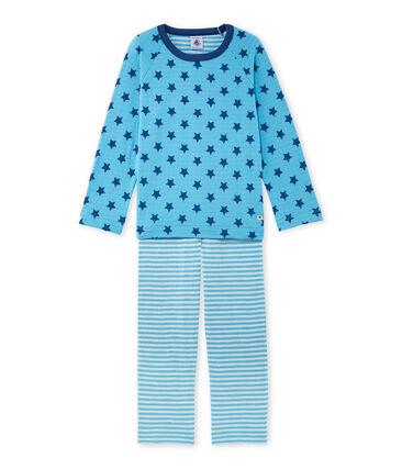 Jongenspyjama in tubic met print/strepen
